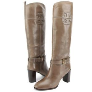 Tory Burch Shoes - Tory Burch Blaire Mid-Heel Riding Boots Taupe 9.5