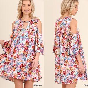 Open Shoulder Floral Dress- CREAM MIX