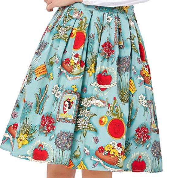 302debafa Skirts | Nwot Blue Vintage Inspired Frida Kahlo Pinup Skirt | Poshmark