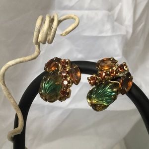 Jewelry - Vintage Green, Amber Glass & Rhinestone Earrings