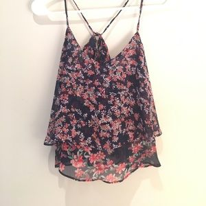 Express Navy/Floral Pattern Crop Top
