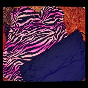 Other - Pink &a black zebra swimsuit top