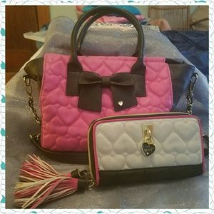 *SALE* Betsey Johnson Be Mine Tote & Wallet/Clutch