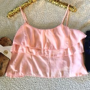 Blush Crop Top with Ruffles