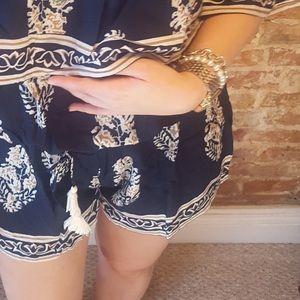 Pants - Off the Shoulder Romper with Tassel Waist Tie