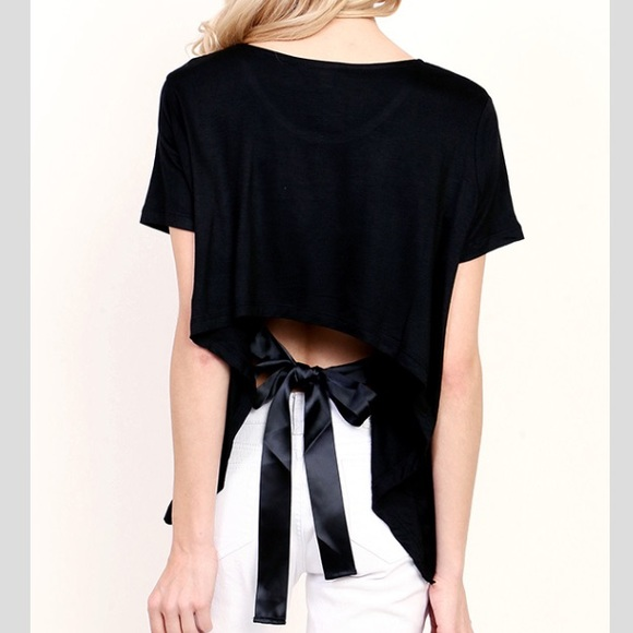 Tops - Black Top with Back Tie Detail