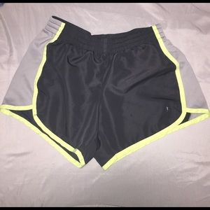 Danskin Now Pants - Charcoal Gray and Lime Green running shorts