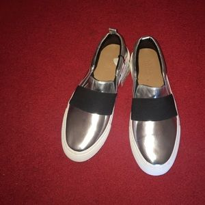 "Silver slip-on strap sneakers, ""Ready Red Carpet"""
