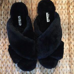 Miu Miu Shoes - Miu Miu Flatform Black Shearling Sandals 39.5 9M