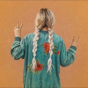 Denim Floral Bomber Jacket
