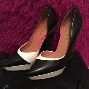 L.A.M.B. Shoes - L.A.M.B. Connor Black/White Wedge Pump.
