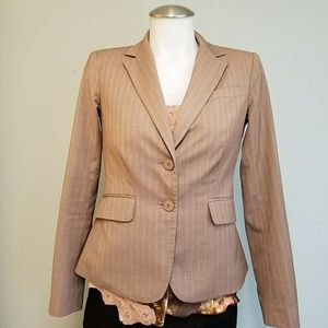 NY&Co Tan Pinstripe Fitted Blazer