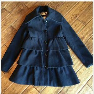 Steve Madden Jackets & Blazers - Tierred Ruffle Steven Madden Black Pea coat M
