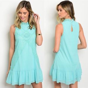 GlamVault Dresses & Skirts - Mint Crochet Mock Neck Dress