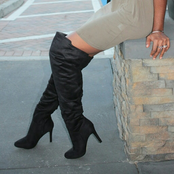 Shoes - Black faux suede thigh high boots
