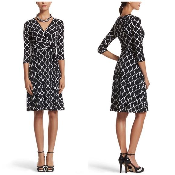 White House Black Market Dresses & Skirts - NWT WHBM Black & White Print Wrap Dress