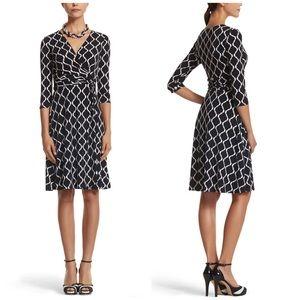 NWT WHBM Black & White Print Wrap Dress