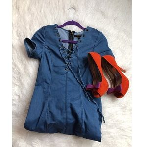 Guess Dresses & Skirts - 🔸Denim Laceup Dress 🔸