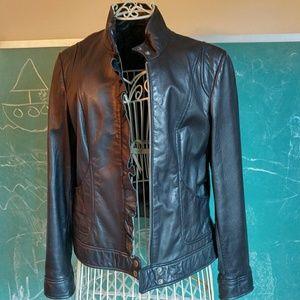Black Rivet Jackets & Blazers - Black leather jacket ruffle moto zipper sleek