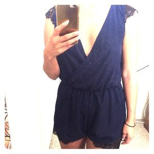 Navy blue romper with lace