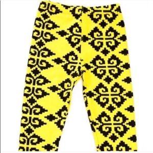 Callie Lives Other - Yellow Black Tribal Aztec Motif Kids Leggings Lg