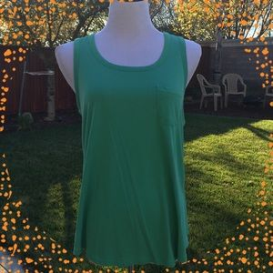 Naked Zebra Tops - Green Naked Zebra thick strap tank top with pocket
