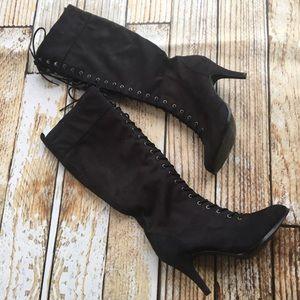Diba Shoes - Diba black knee high lace up heeled boots size 9.5