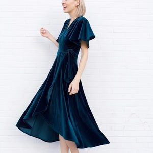 Dresses & Skirts - Velvet Wrap Short Sleeve Dress - Hunter Green