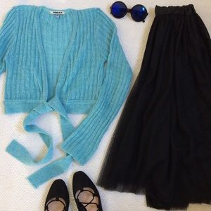 Anchor Blue Sweaters - Blue Tie-Front Cropped Sweater