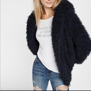 Express Sherpa faux fur hooded jacket