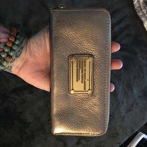 Marc by Marc Jacobs Gold Zip Around Wallet