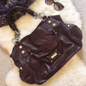 b. makowsky Handbags - B. Makowsky Croc Embossed Leather Shoulder Bag