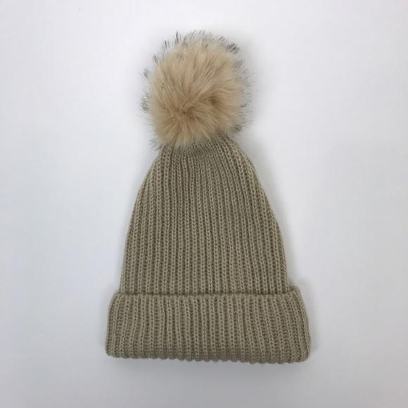 17f75377 Zara Accessories | Faux Fur Pom Knit Ribbed Hat Tan Cozy New | Poshmark