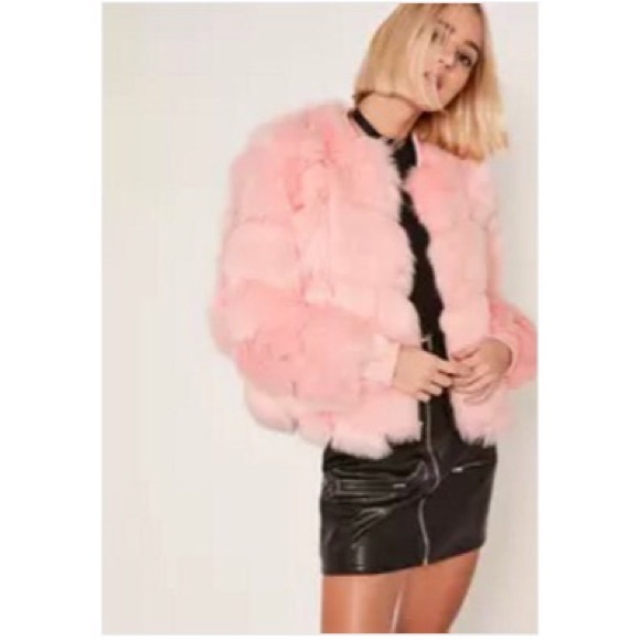 0cb15a7ab Pink bubble faux fur bomber jacket