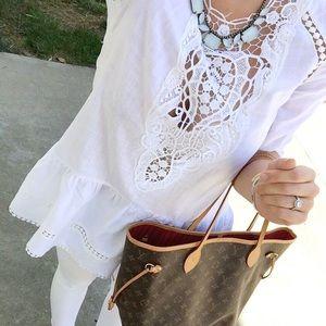 sheinside Tops - White lace crochet top