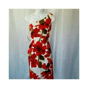 Evan Picone Dresses & Skirts - ⬇EVAN PICONE  RED POPPIES ONE SHOULDER DRESS  6