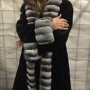 north dallas furs Jackets & Blazers - Chinchilla tuxedo front blk sheared mink stroller