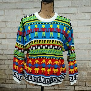 Vintage Funky Bright Knitted Acrylic Sweater Med