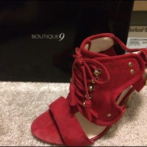 Boutique9 red and gold shoes