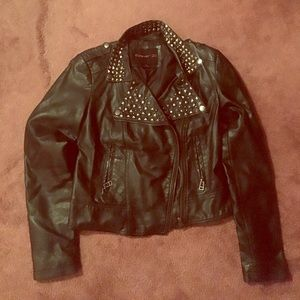 Forever 21 faux black leather studded jacket