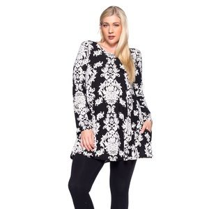 Tops - Black And White Paisley Tunic