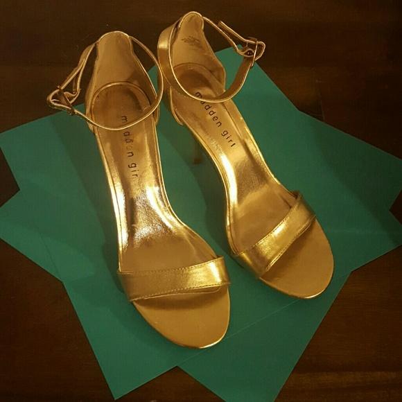 Madden Girl Gold Gdaring Strap Heels