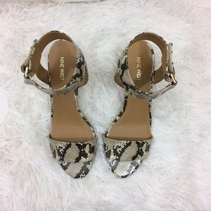 Nine West Shoes - NINE WEST ankle strap snake skin wedged sandals