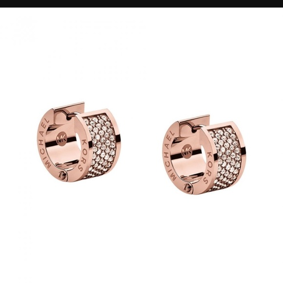 977b356219b788 Michael Kors Rose Gold Pave Huggie Earrings. M_58afa3372fd0b7419e007ea1