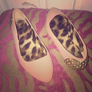 Shoes - Pale pink pointy toe studded heel flats