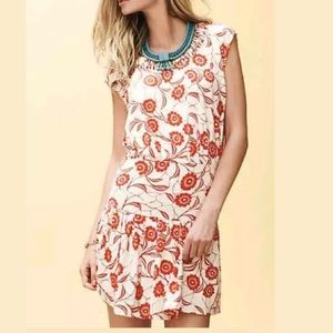 Leifnotes floral cut out neck dress Anthropologie