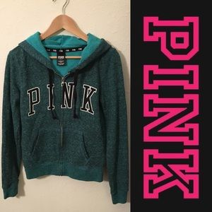 PINK Victoria's Secret Tops - 💚PINK Victoria's Secret Green Hooded Zip-Up💚