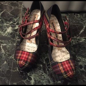 Harajuku Lovers Shoes - Plaid three strap pumps