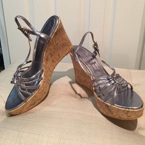 Chinese Laundry metallic pewter cork wedge sandal