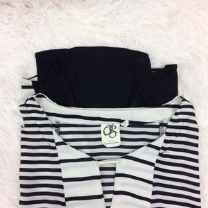 ANTHROPOLOGIE black+white madrigal stripe top